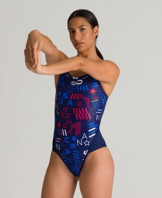 Blue USA Superfly Back One Piece