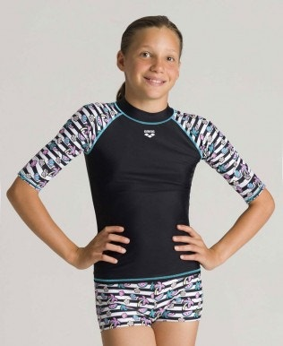 Girls' short sleeves Allover Rash Vest
