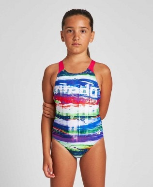 Girls' Rainbow Colors Swim Pro Back One Piece