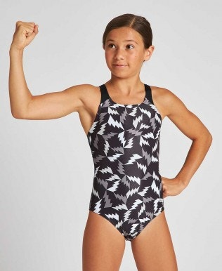 Girls' Lightning Colors Swim Pro Back One Piece (front lining)