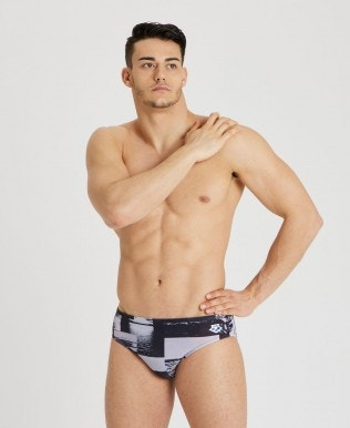 Herren Printed Icons Team Fit Brief Badehose