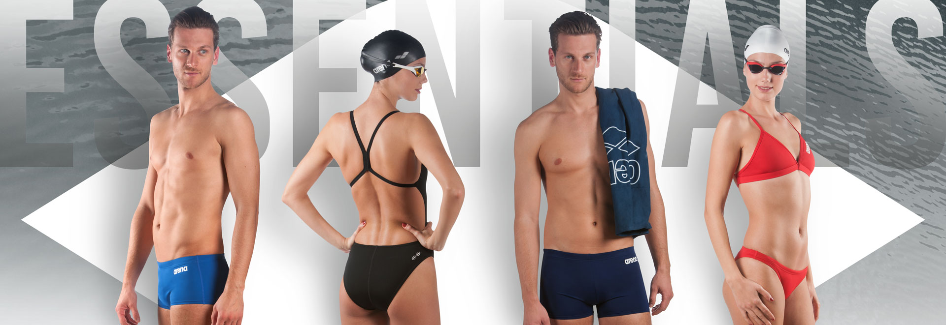 arena essentials men and women pool swimwear